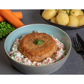 Karbonader m stuvet grønærter og gulerødder, hvide kartofler