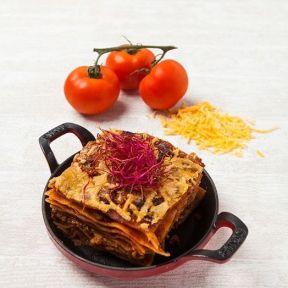 Lasagne med oksekød dertil ovnstegte gulerødder